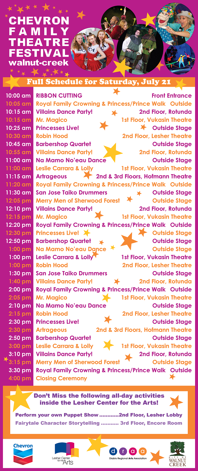 Chevron Family Theatre Festival Schedule